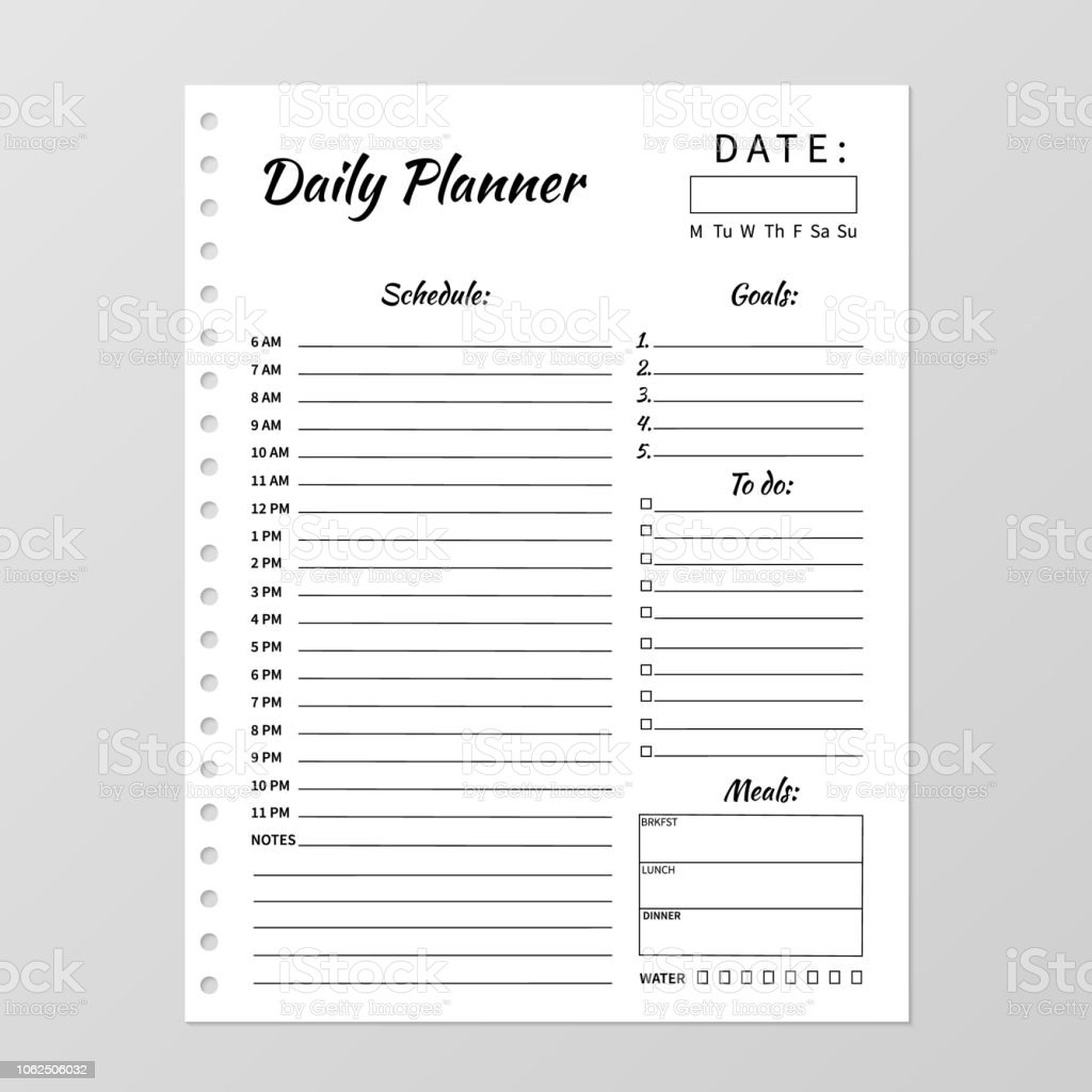 photo regarding Daily Planner Template identified as Minimalist Each day Planner Template Blank White Laptop computer Webpage