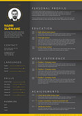 Vector dark minimalist cv / resume template with yellow accent and nice typogrgaphy design