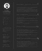 Vector minimalist dark cv / resume template with nice typogrgaphy design.