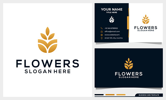 Minimalist elegant flower rose, luxury beauty salon, fashion, skincare, cosmetic, yoga and spa products logo design with business card template