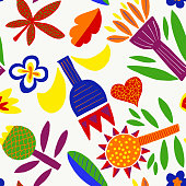 istock Minimalist Floral Geometric Abstract Seamless Pattern with Bright Colors Isolated on White Background. Modern, Cubist, Childish Background. 1135566958