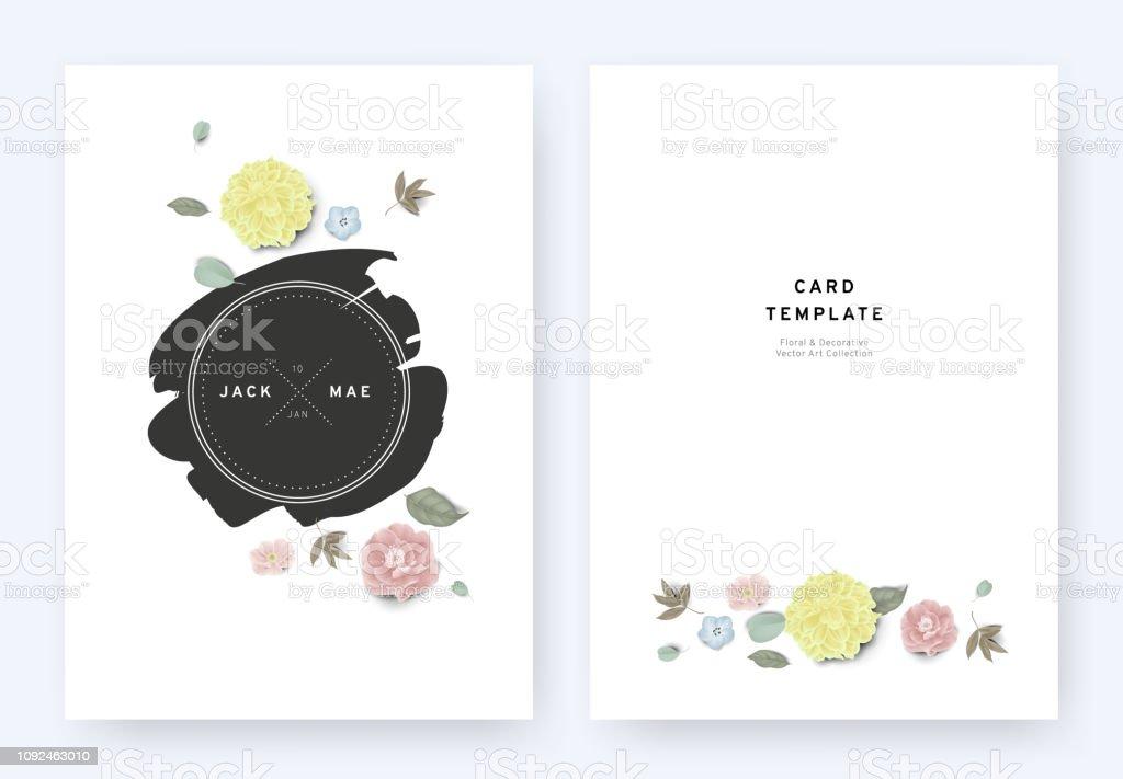 Minimalist Floral Wedding Invitation Card Template Design