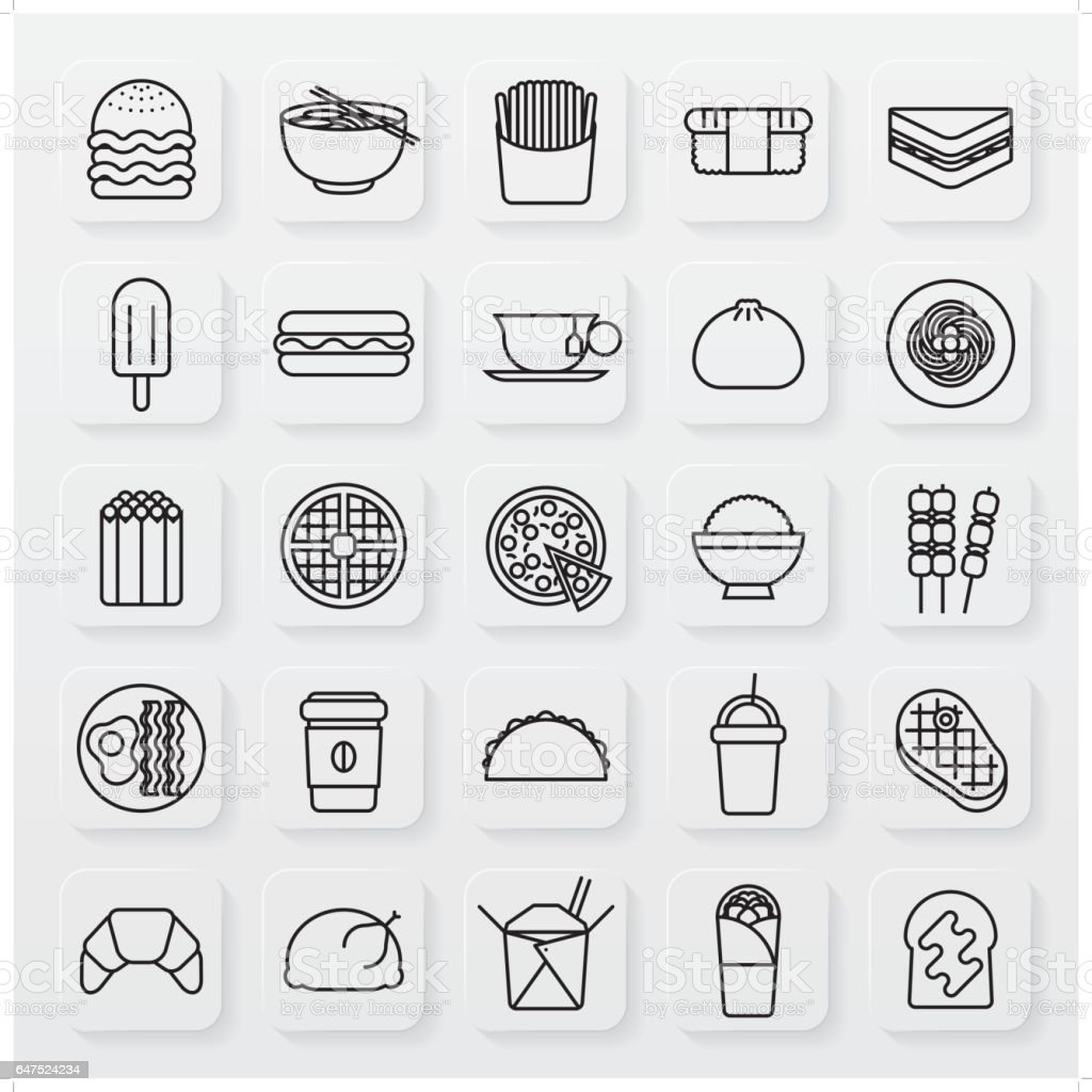 minimalist food and beverage line icon set vector art illustration