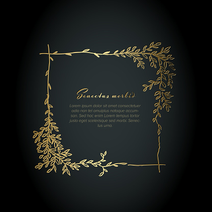 Minimalist golden square floral flyer