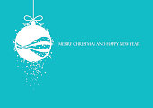 Minimalist green blue Christmas card vector