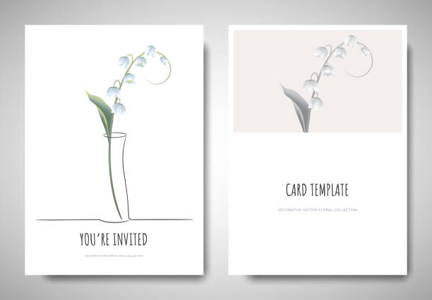 Minimalist greeting/invitation card template design, lily of the valley flower in simple line vase on white background Minimalist greeting/invitation card template design, lily of the valley flower in simple line vase on white background lily of the valley stock illustrations