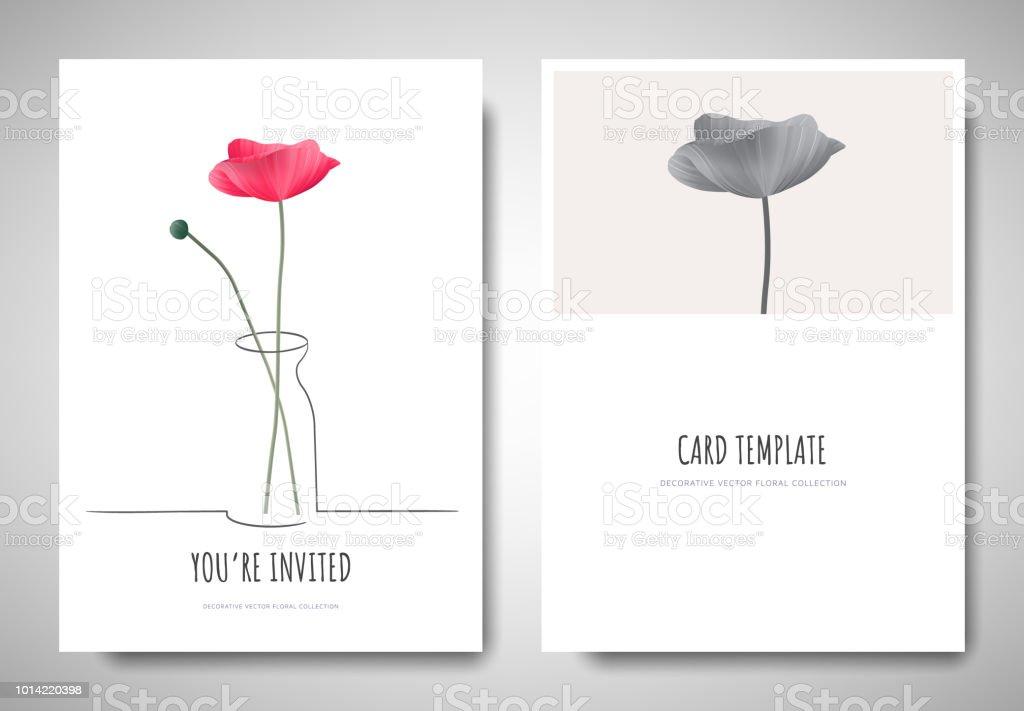 Minimalist greetinginvitation card template design pink poppy minimalist greetinginvitation card template design pink poppy flowers in simple line vase on mightylinksfo