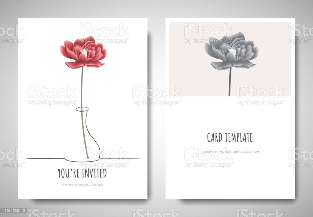 minimalist greetinginvitation card template design red peony flower