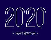 Holiday banner with contour line 2020 numbers. Vector celebration illustration