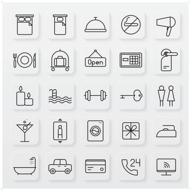 ilustrações, clipart, desenhos animados e ícones de conjunto de ícones de linha minimalista de hospitalidade - viagem de primeira classe
