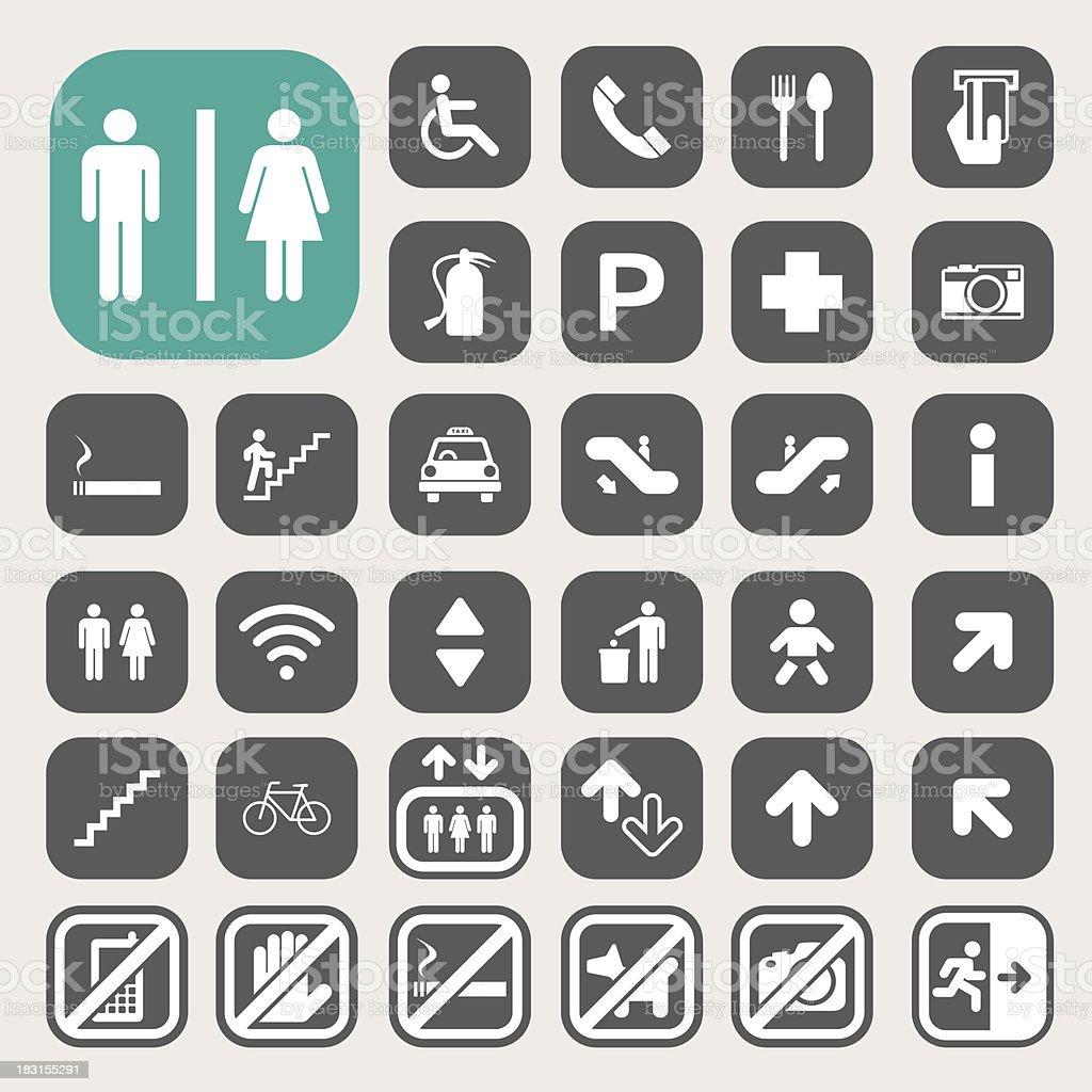 Minimalist icon set for public streets vector art illustration