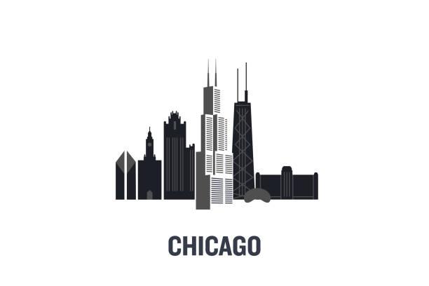 chicago asıl binalar minimalist illustration. düz vektör tasarımı. - panoramik stock illustrations