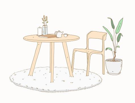 Minimalist interior furniture decoration doodle illustration, a hand drawn vector doodle of minimalist furniture for living room.