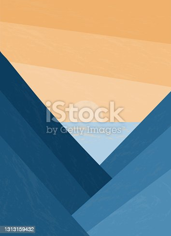 istock Minimalist landscape. Abstract mountains and sunset on the sea. Stylish natural background. Poster in the blue colors of the earth. Concept of travel, leisure and tourism. Wall art. Vector 1313159432