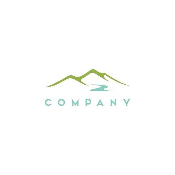 minimalistische landschaft hügel / bergspitzen vektor-design - bach stock-grafiken, -clipart, -cartoons und -symbole