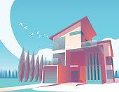 Minimalist 3d illustration of a modern house.