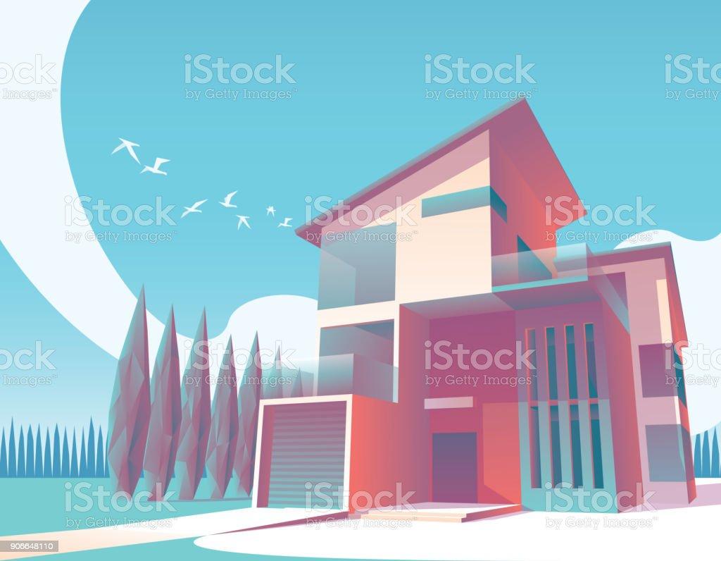 Ilustración 1 de la casa moderna minimalista - ilustración de arte vectorial