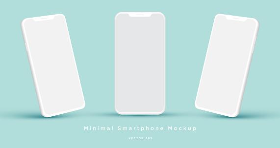 Minimalist modern white clay mock up templates smartphones.