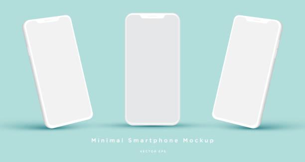 illustrazioni stock, clip art, cartoni animati e icone di tendenza di minimalista moderno argilla bianca mock up modelli smartphone. - smart phone