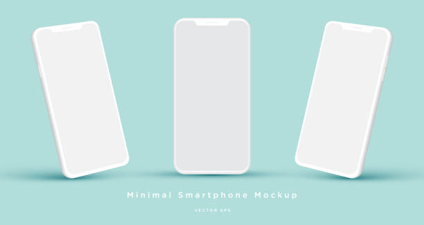 Minimalist modern white clay mock up templates smartphones. vector art illustration