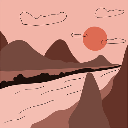 Minimalist mountain landscape, river and sunset sky. Abstract scandinavian design, vector flat illustration. Mid century modern artwork.