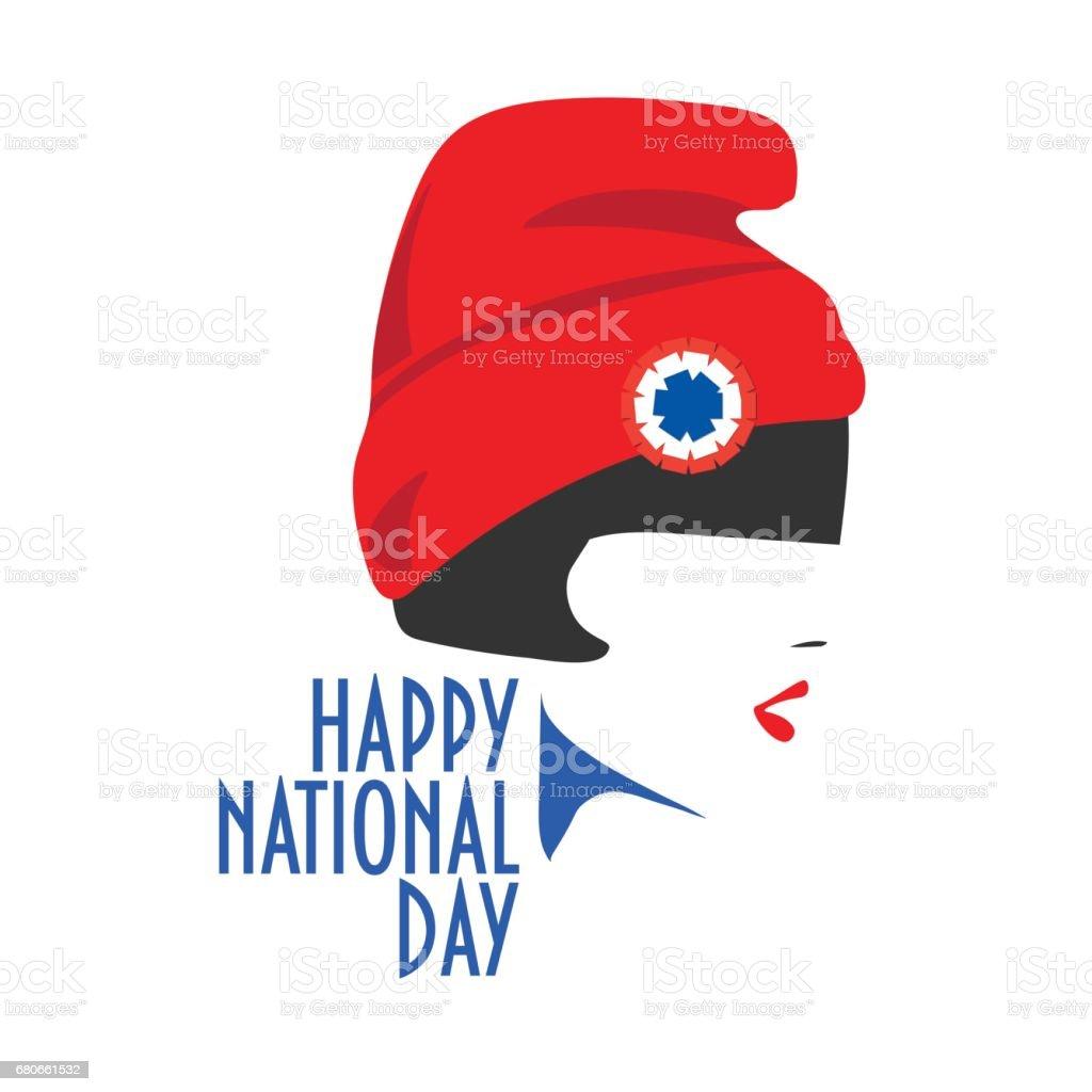 Un design minimaliste la journée nationale des cartes de voeux vecteur: une fille avec chapeau rouge et cocarde tricolore sur. - Illustration vectorielle