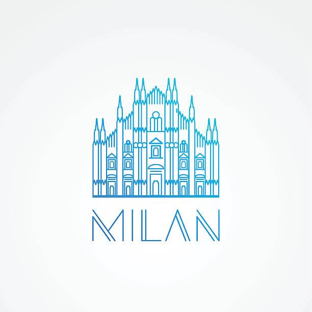 illustrazioni stock, clip art, cartoni animati e icone di tendenza di minimalist one line travel sign of milan italy - milan