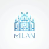 Minimalist one line travel sign of Milan Italy