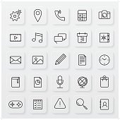 A set of 25 minimalist operating system line icon set on a subtle button background with shadow.