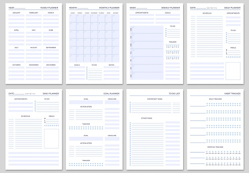 Minimalist planner pages templates. Organizer page, diary and daily control book. Life planners, weekly and days organizers vector set