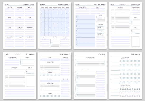 Minimalist planner pages templates. Organizer page, diary and daily control book. Life planners, weekly and days organizers vector set Minimalist planner pages templates. Organizer page, diary and daily control book. Life planners, weekly and days organizers or office schedule list. Graphic organization paper vector set agenda stock illustrations