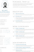 Vector minimalist cv / resume template with blue accent and nice typogrgaphy design