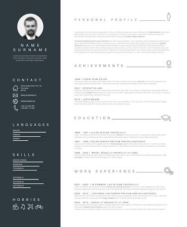 Minimalist resume cv template with nice typography