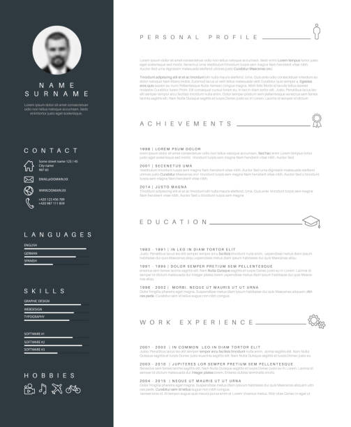 minimalist resume cv template with nice typography vector art illustration