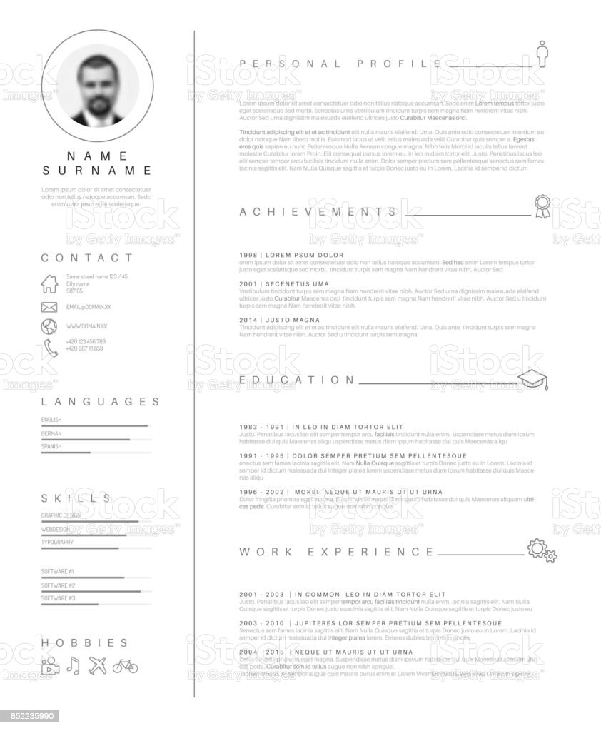 Minimalist Resume Cv Template With Nice Typography Stock Vector Art