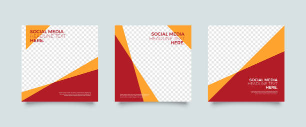 bildbanksillustrationer, clip art samt tecknat material och ikoner med minimalistiska sociala medier post mall - social media post template