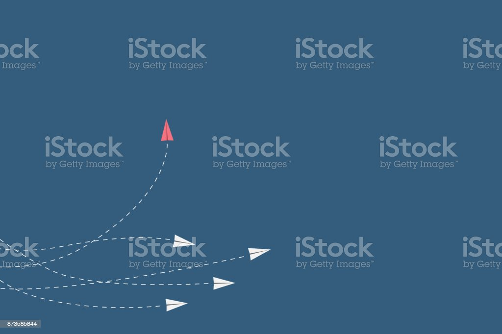 Minimalist stile red airplane changing direction and white ones. New idea, change, trend, courage, creative solution, innovation and unique way concept. vector art illustration