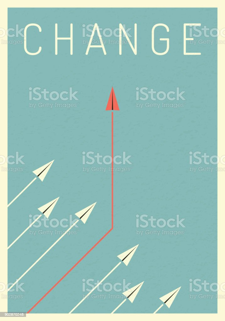 Minimalist stile red airplane changing direction and white ones. New idea, change, trend, courage, creative solution,business, innovation and unique way concept. vector art illustration
