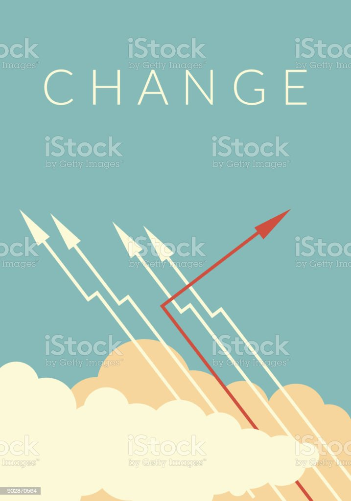 Minimalist stile red arrow changing direction and white ones. New idea, change, trend, courage, creative solution,business, innovation and unique way concept. vector art illustration