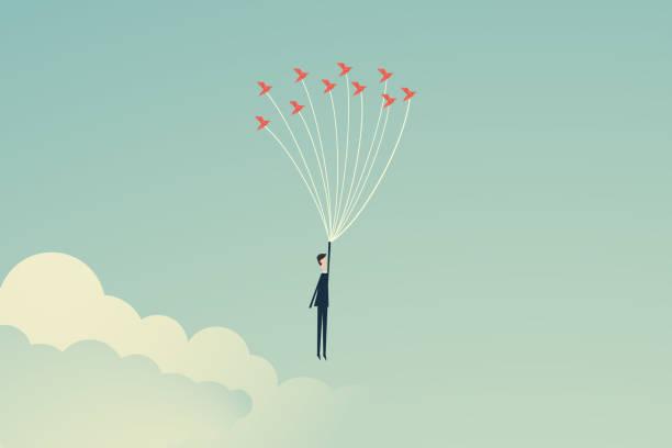 stockillustraties, clipart, cartoons en iconen met minimalistische stijl. vector business finance. vrijheids concept. bedrijfspersoon die met vogels vliegt. emotie van vrijheid en geluk, boven risico en gevaar, de zakenman balanceert symbool leiderschap, strategie, missie, doelstellingen - hoop