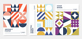 Minimalist style posters set. Abstract geometric coveres collection. Bauhaus background design. Vector illustration.