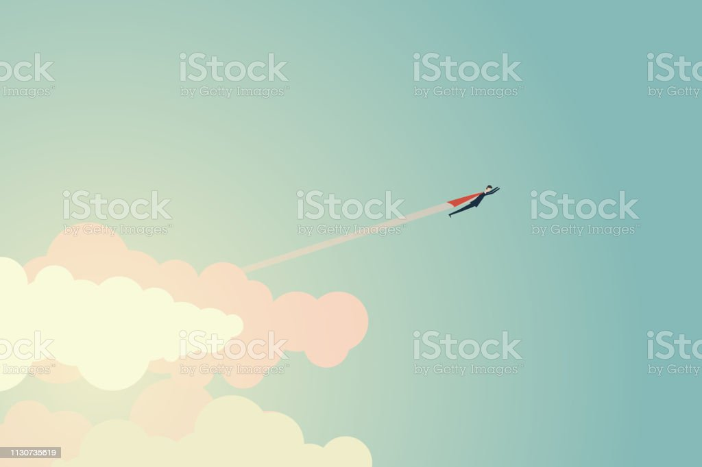 Minimalist style Super Businessman flies to the goal and success. Symbol leadership, strategy, mission, objectives vector art illustration