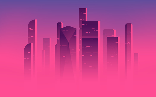 Minimalist vector illustration of a skyscrapers above the clouds, city highrises in a misty fog
