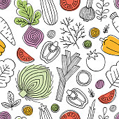 Minimalist vegetables seamless pattern. Linear graphic. Vegetables background. Scandinavian style. Healthy food. Vector illustration