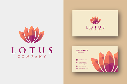 Minimalist warm Colorful Lotus icon vector template and business card template