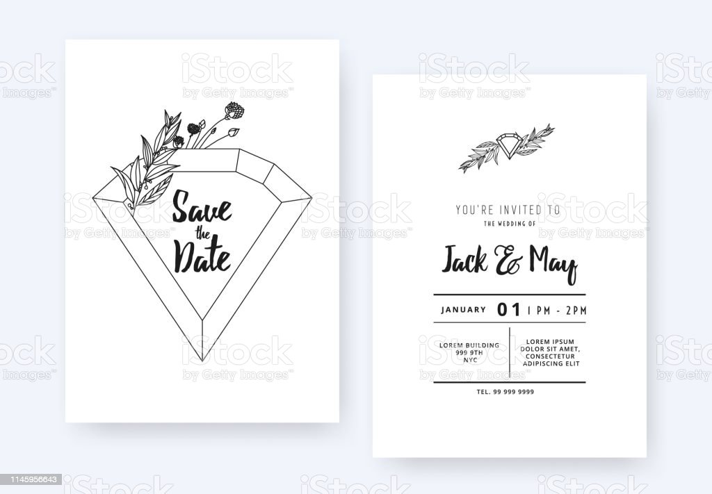 Minimalist Wedding Invitation Card Template Design Diamond