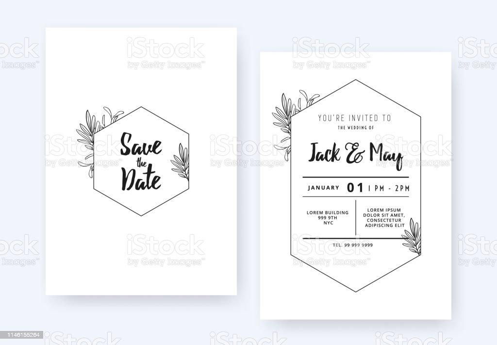 Minimalist Wedding Invitation Card Template Design Foliage