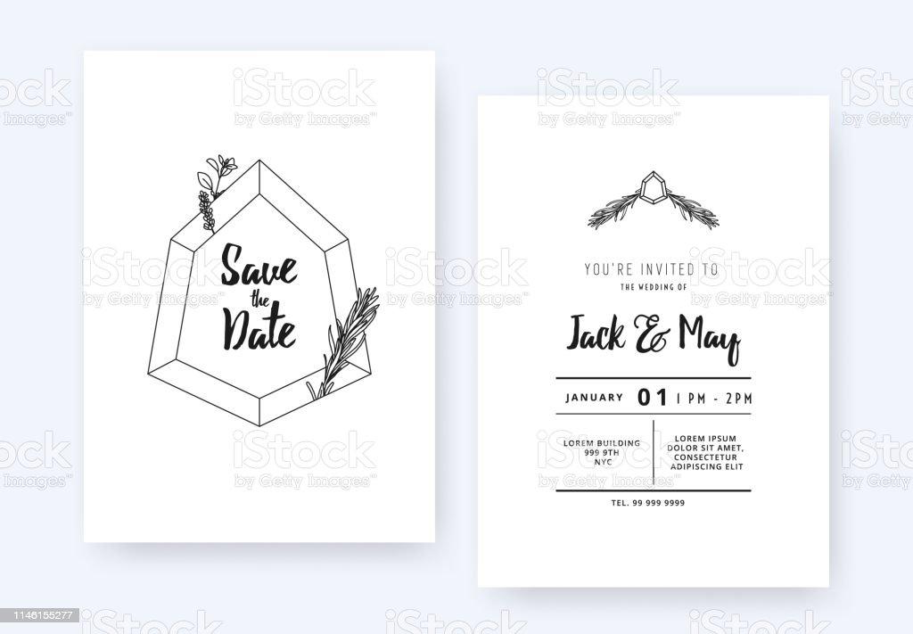 Minimalist Wedding Invitation Card Template Design Hexagon