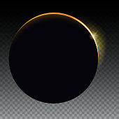 Minimalist with a flare to the right Solar eclipse - full sun eclipse. Blurred light rays on black backdrop. Glow light effect. Isolated on transparent background.