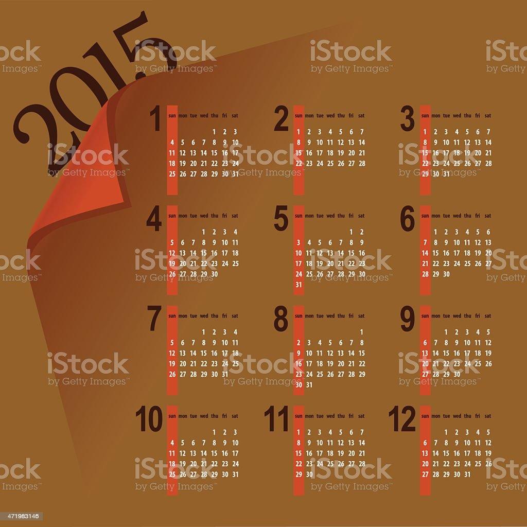 minimalistic 2015 calendar vector art illustration